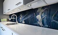 Виниловый кухонный фартук Туман Нарциссы (наклейка для кухни ПВХ пленка скинали) Цветы Синий 600*2500 мм