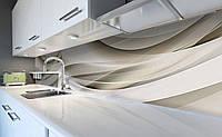Виниловый кухонный фартук Бежевая Абстракция 3Д (наклейка для кухни ПВХ пленка скинали) Линии шелк 600*2500 мм