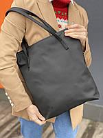 Сумка шоппер  на молнии женская непромокаемая из из экокожи черная матовая, фото 1