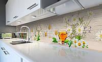 Виниловый кухонный фартук Ромашковый чай 3Д (наклейка для кухни ПВХ пленка скинали) текстура Напитки Бежевый 600*2500 мм