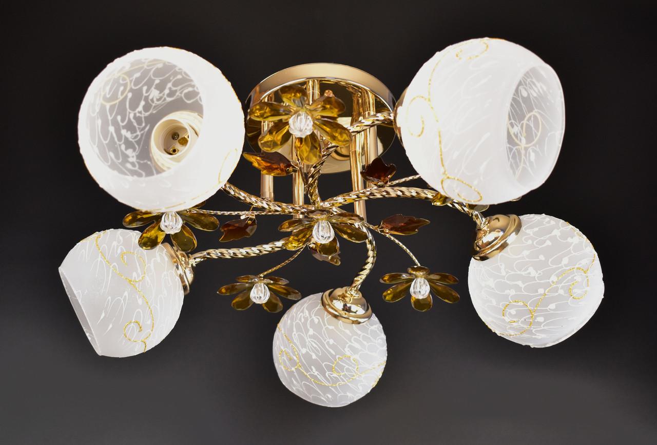 Люстра потолочная на 5 лампочек 4106/5-brown Коричневый 23х50х50 см.