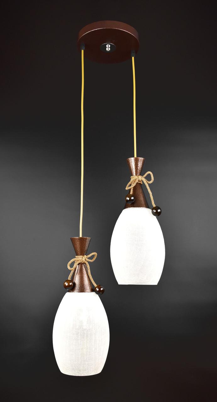 Люстра потолочная подвесная на 2 лампочки 11322/2 Коричневый 50х35х35 см.