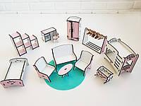 Набор кукольной мебели NestWood спальня+гостиная+детская Розовая (kml003)