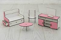 Мебель для кукольного домика Барби NestWood Гостиная Розовая (kmb002)