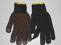 Перчатка 141 черная ПВХ син.точка желт.рез