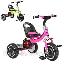 Детский трехколесный велосипед EVA колеса M 3650-M-2 малиновый и салатовый