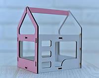 Игрушечная двухъярусная кровать домик NestWood для кукол Белый с розовым (kml009r)