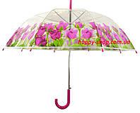 Зонт-трость прозрачный женский с цветами. Купол 92 см