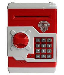 Электронная копилка сейф с кодовым замком Money Safe, красно-белый