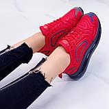 Женские кроссовки красные с черным на шнуровке текстиль, фото 2