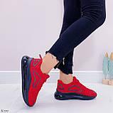 Женские кроссовки красные с черным на шнуровке текстиль, фото 6