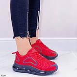 Женские кроссовки красные с черным на шнуровке текстиль, фото 3