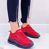Женские кроссовки красные с черным на шнуровке текстиль, фото 5