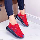 Женские кроссовки красные с черным на шнуровке текстиль, фото 8