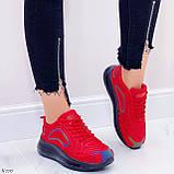 Женские кроссовки красные с черным на шнуровке текстиль, фото 4
