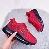 Женские кроссовки красные с черным на шнуровке текстиль, фото 7