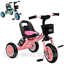 Детский трехколесный велосипед с корзинкой и бутылочкой M 3197-M-1 розовый и мятный