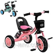 Дитячий триколісний велосипед з кошиком і пляшкою M 3197-M-1 рожевий і м'ятний