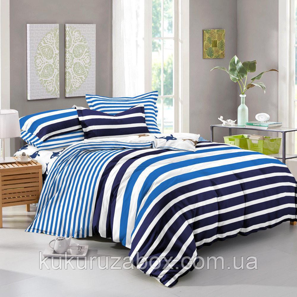 Двоспальний комплект 180х220 Блакитна Лагуна з сатину (50х70)