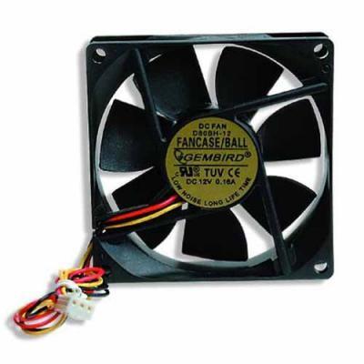 Вентилятор Gembird FANCASE/Ball, 80х80х25мм, 3-pin, черный