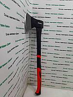 Кованый топор (для дров) с усиленной рукояткой 1000 грамм. Прорезиненная ручка из фибергласса.