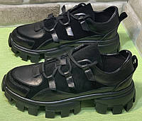 Prada женские кроссовки осень весна кожа замша натуральная высокой подошве 36,37,38,39,40 чёрные, фото 1
