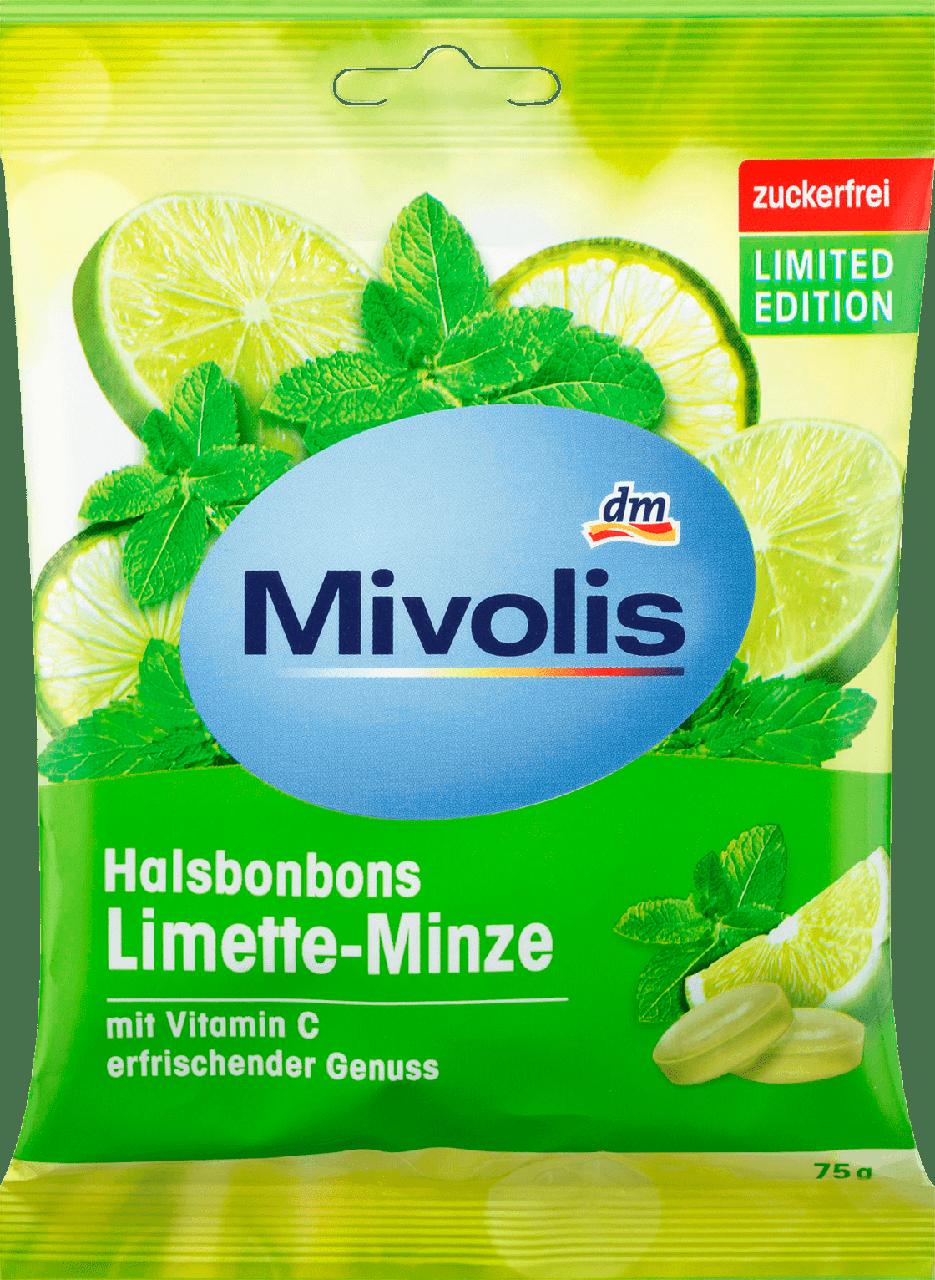 Леденцы без сахара Mivolis Limette-Minze, 75 гр.(18шт)
