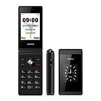 Телефон кнопочный раскладушка с батареей большой емкости и камерой на 2 sim Uniwa X28 black