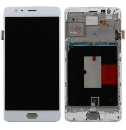 Дисплей (экран) для OnePlus 3T (A3010) с сенсором (тачскрином) и рамкой белый