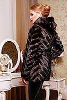 Шуба женская из искусственного меха под норку, коричневая