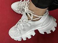 Prada женские кроссовки осень весна кожа замша натуральная высокой подошве 36,37,38,39,40 белые, фото 1