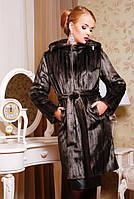 Женская шуба из искусственного меха под норку, шоколадного цвета, фото 1