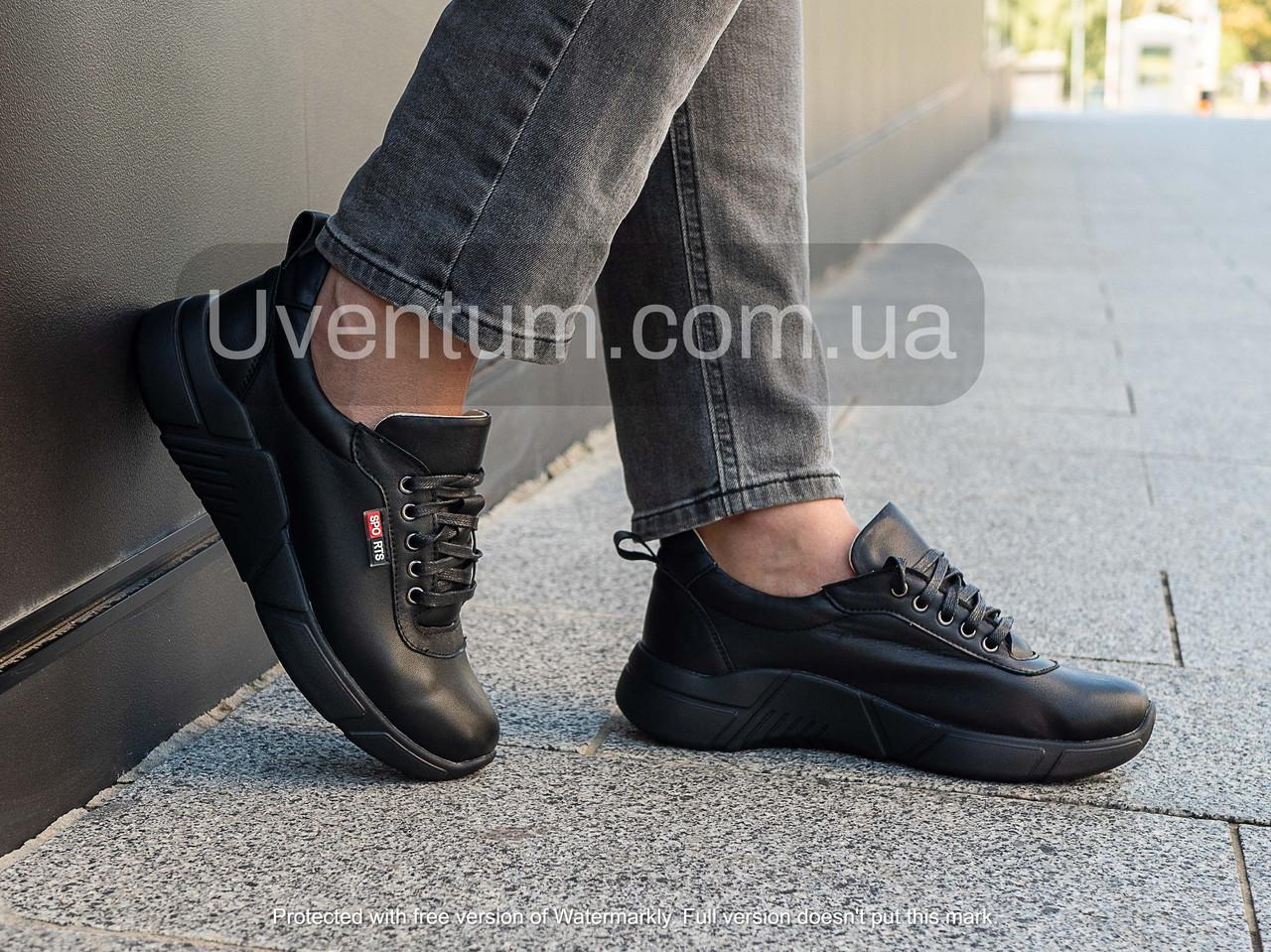 Кросівки шкіряні жіночі чорні 36-40 чорний