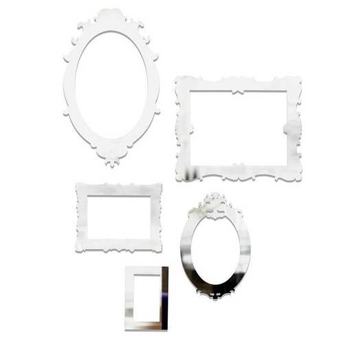"""Настенный декор """"Frama"""" из 5 шт прозрачный в форме рамочек для фото"""