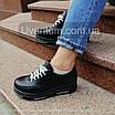 Черные женские кроссовки  кожаные    36-40 черный, фото 2