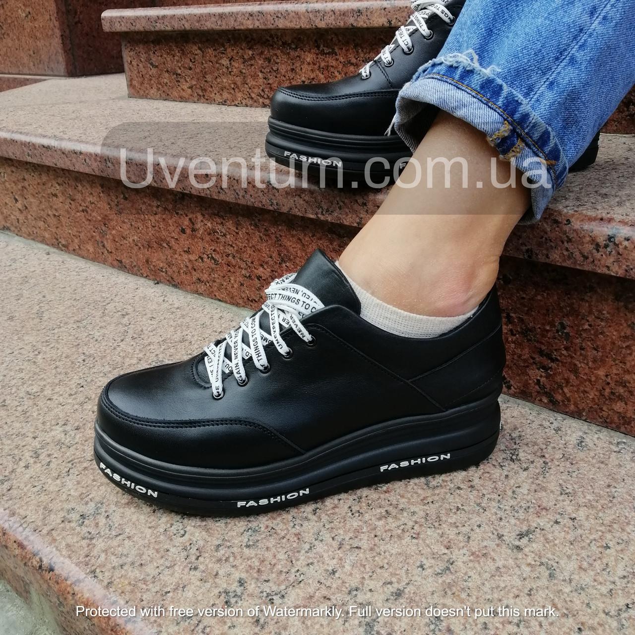 Черные женские кроссовки  кожаные    36-40 черный