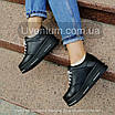 Черные женские кроссовки  кожаные    36-40 черный, фото 4