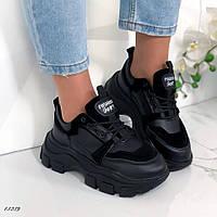 Женские кроссовки экокожа+эконубук чёрные, фото 1