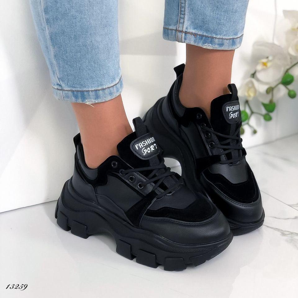 Женские кроссовки экокожа+эконубук чёрные