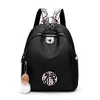 Жіночий міський рюкзак чорний з рожевим, фото 1