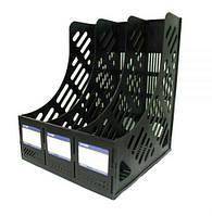 Лоток вертикальный сборный Economix,на 3 отделения,черный E31903-01