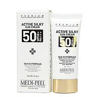 Солнцезащитный крем с пептидами и аминокислотами шелка MEDI-PEEL Active Silky Sunscreen SPF50+/PA+++ 50 мл, фото 1