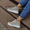 Высокие кеды женские кожаные    36-40 бежевый, фото 2