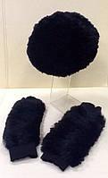 Комплект шапка и перчатки мех вязка кролик черный