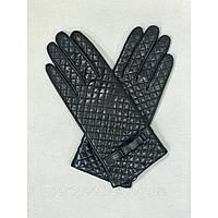 Перчатки женские кожаные черные стеганые бренд LUX копия