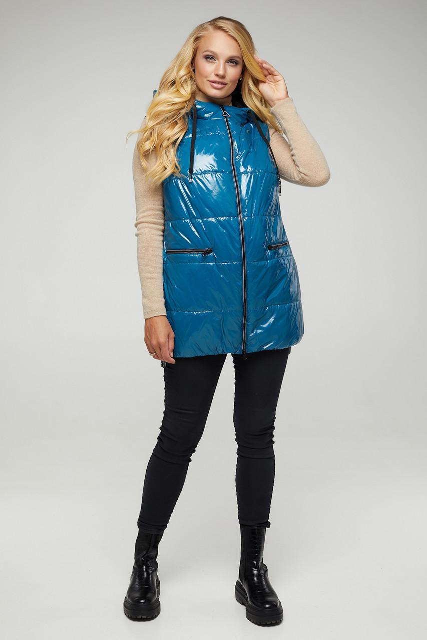 Модний жіночий жилет з лакової плащової тканини на синтепоні колір Бірюза великих розмірів від 50 56 58 60