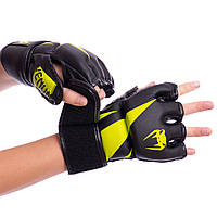 Рукавички MMA тренувальні VENUM для змішаних єдиноборств Поліуретан Чорний-жовтий (BO-8355) M