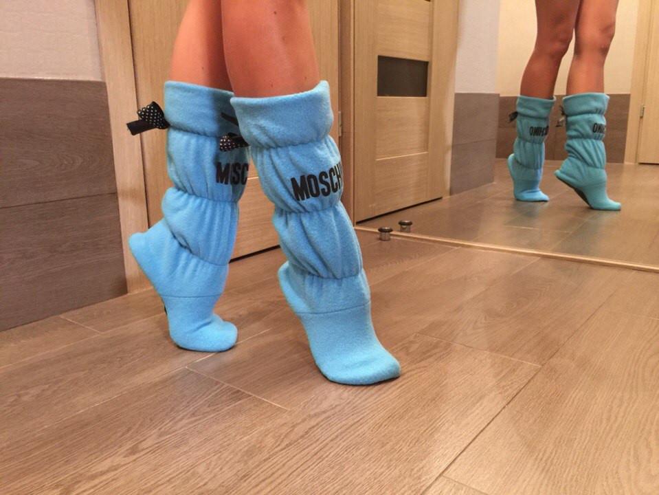 Тапочки сапожки флис Moschino, фото 1