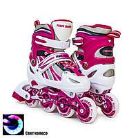 Дитячі розсувні роликові ковзани Power Champs, ролики 29-33, рожеві