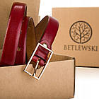 Шкіряний жіночий ремінь Betlewski® 2 х 0.2  (LIC20-2-ZL-75) - червоний, фото 5